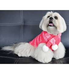 Pull fantaisie et son écharpe assortie - rose-Accueil