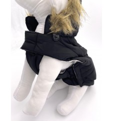 Doudoune à capuche pour chien - noir-Accueil