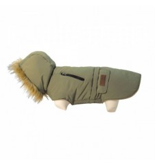 Doudoune à capuche pour chien - kaki-Accueil