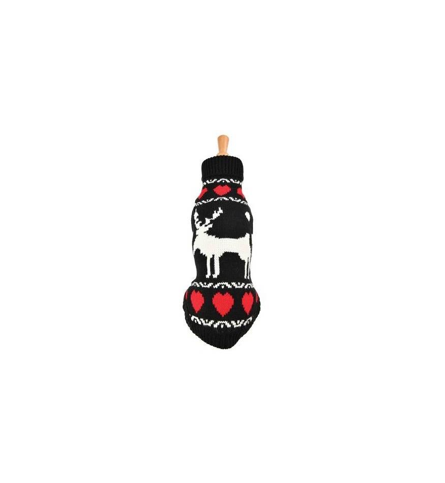 Pull Renne - noir/écru/rouge-Accueil